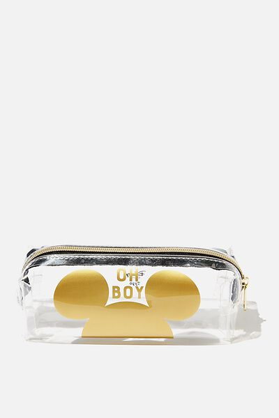 Clear Bailey Pencil Case, LCN DIS MK MICKEY GOLD EARS