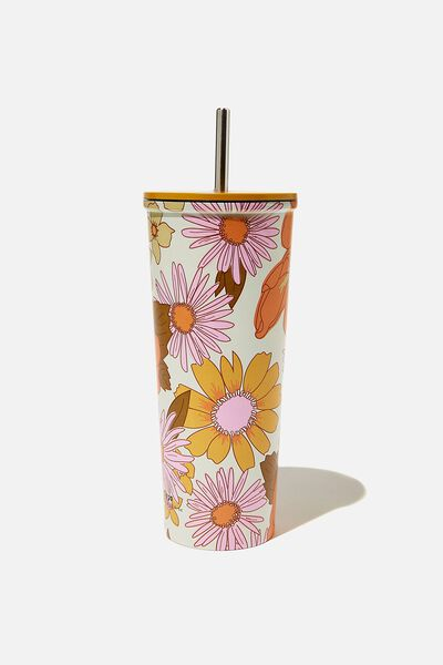 Metal Smoothie Cup, STEVIE FLORAL ORANGE & PINK