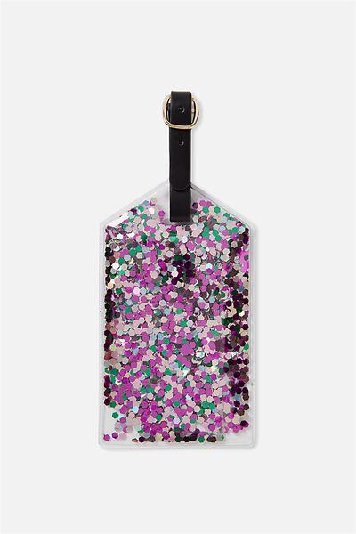 Glitter Filled Luggage Tag, MULTI GLITTER