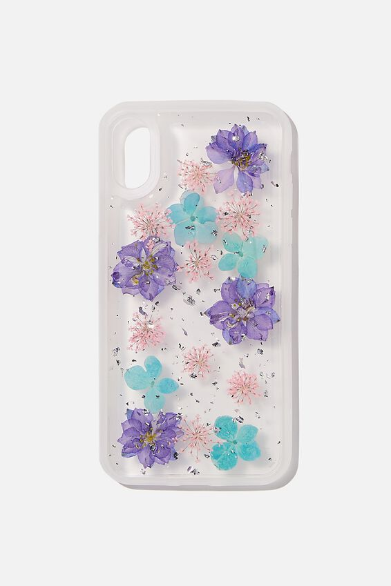 Snap On Protective Phone Case X, Xs, BLUE & PINK TRAPPED FLOWER