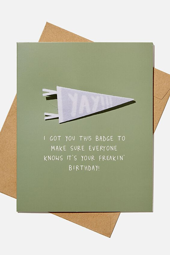 Premium Nice Birthday Card, YAY PENNANT BADGE