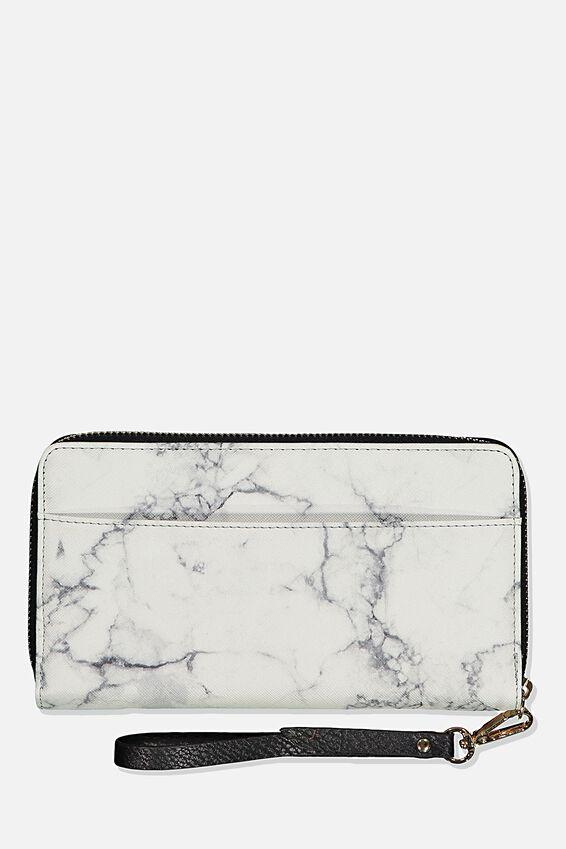 Rfid Zip Around Wallet, WHITE MARBLE
