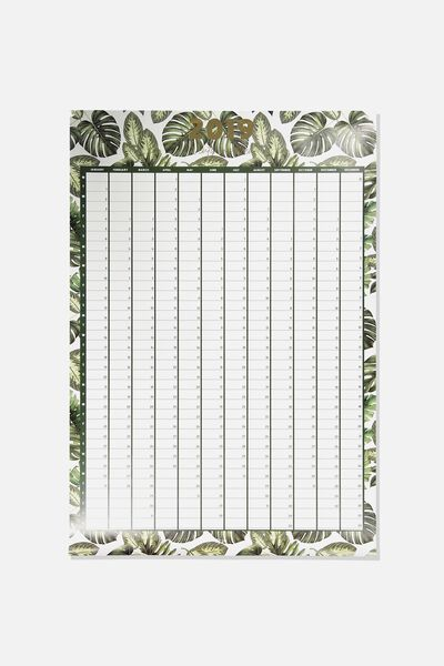2019 A1 Yearly Planner, PALM PRINT