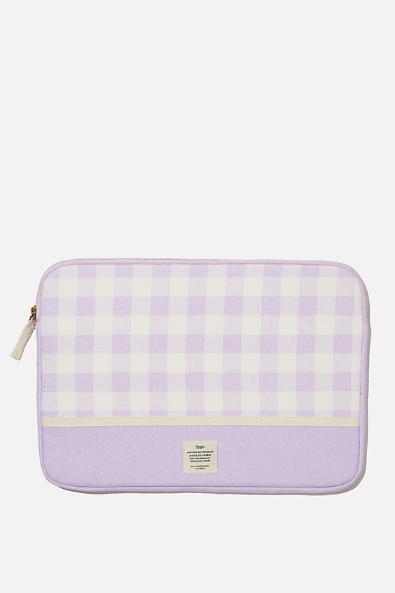 Canvas 13 Inch Laptop Case, GINGHAM PALE LILAC WITH PALE LILAC SPLICE