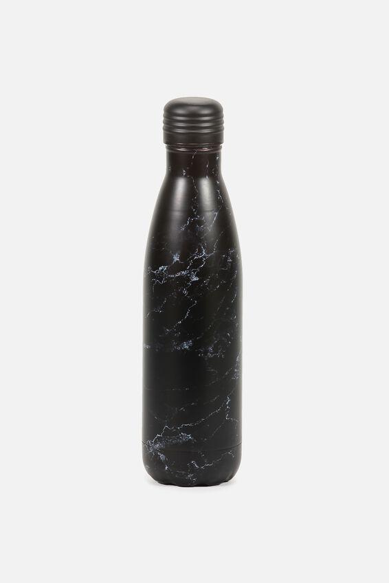 Metal Drink Bottle, BLACK MARBLE