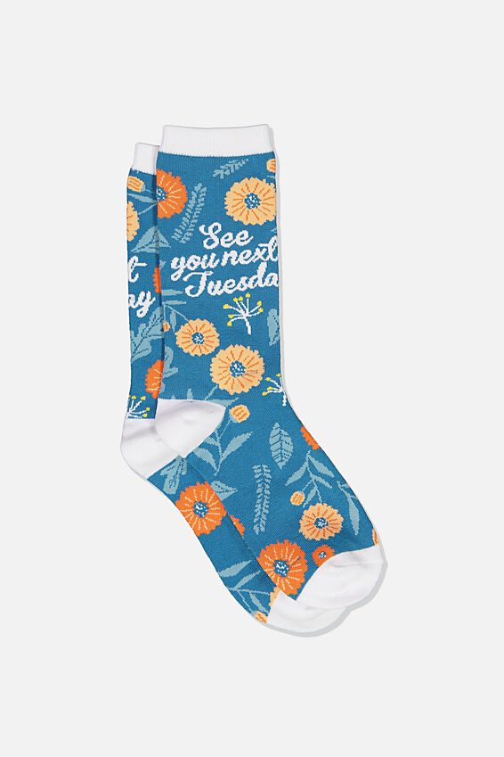 Novelty Socks, FLORAL SEE YOU NEXT TUESDAY!