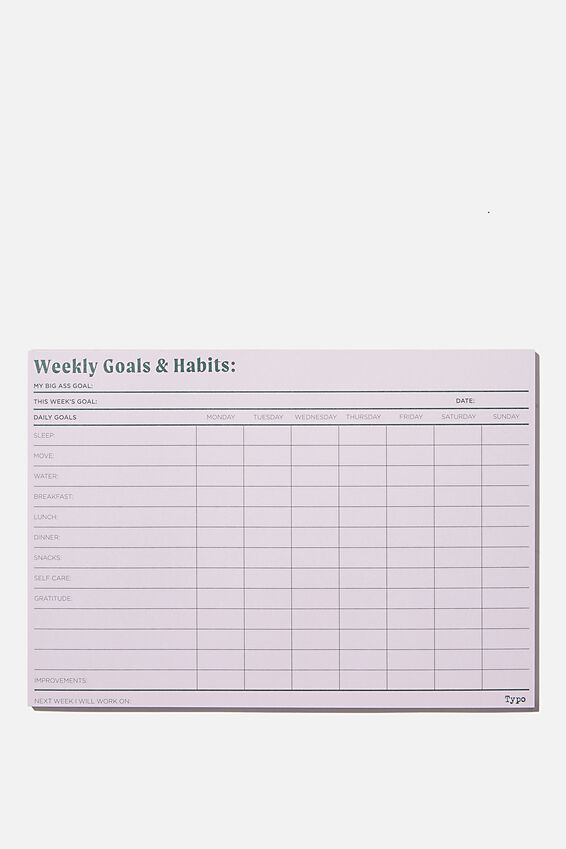 A5 Wellness Tracker, GOALS & HABITS