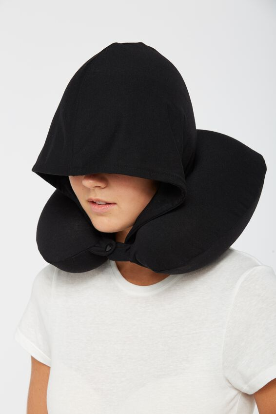 Hooded Travel Neck Pillow, BLACK