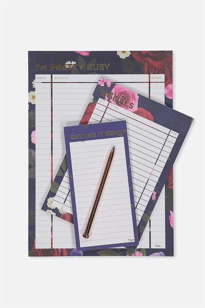 Notepad 3Pk, NAVY FLORAL IM PRETTY BUSY