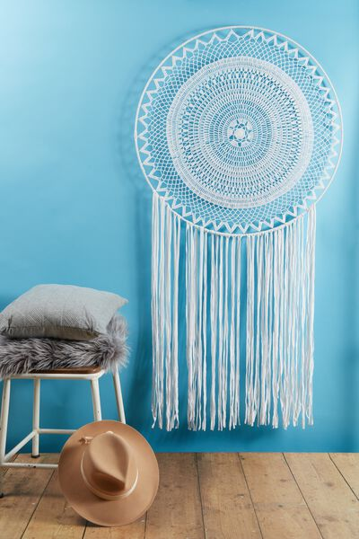 Extra Large Dream Catcher, WHITE LACE