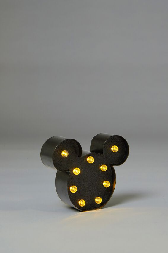 Shaped Mini Marquee Light, LCN MICKEY MOUSE BLACK GLITTER