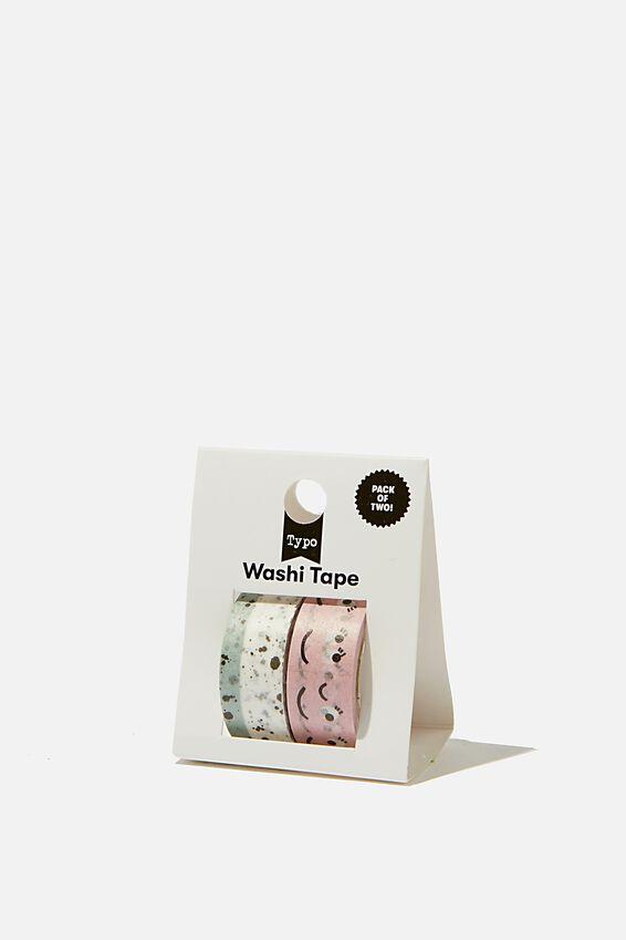 Washi Tape 2Pk, SPLATTER AND FACES