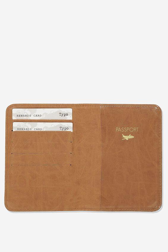 Rfid Passport Holder, WESTERN TOOLED MID TAN