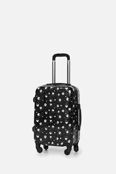 Lcn Small Suitcase, LCN BLACK MICKEY DITSY PRINT