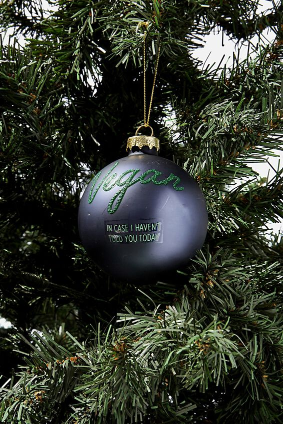 Small Glass Christmas Ornament, BAUBLE VEGAN