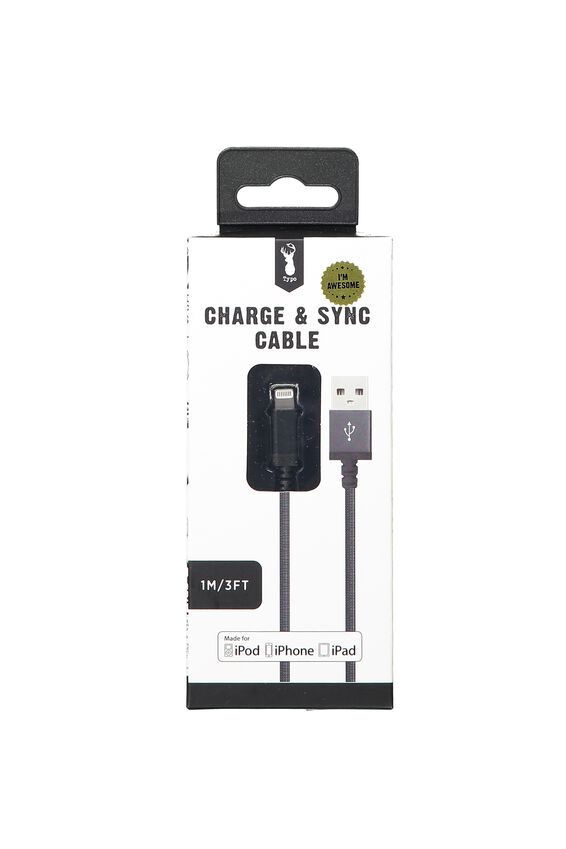 Charge And Sync Cable (Mfi), BLACK