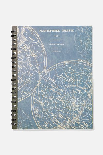 A4 Campus Notebook, PLANISPHERE CELESTE MAP