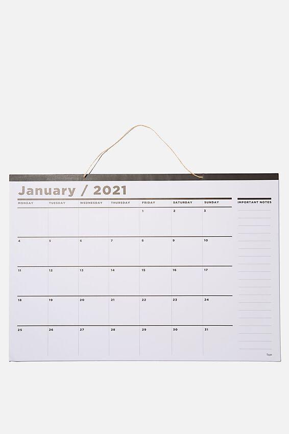 2021 A1 Hanging Calendar, WHITE