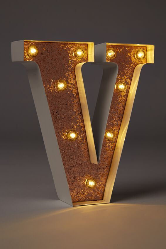 Small Marquee Letter Lights 23cm, WHITE WITH ROSE GOLD GLITTER V
