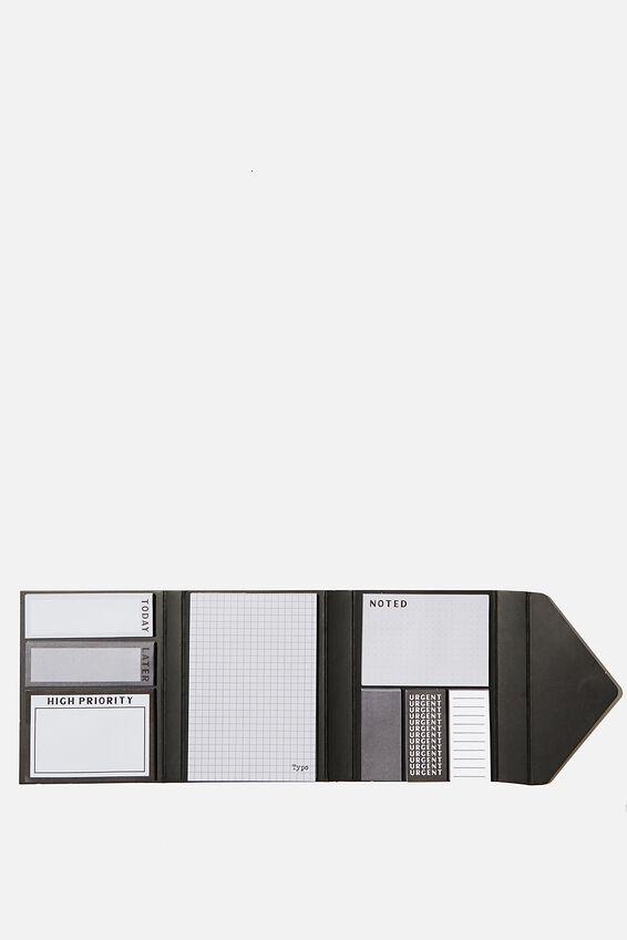 Pocket Sticky Note Set, BLACK GRID
