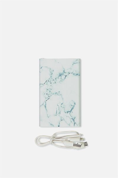 Printed Charge It, BLACK & WHITE MARBLE