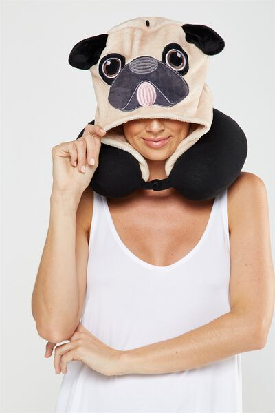 Hooded Travel Neck Pillow, NOVELTY PUG