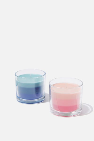 Duo Candle Set, PINK & BLUE MULTI