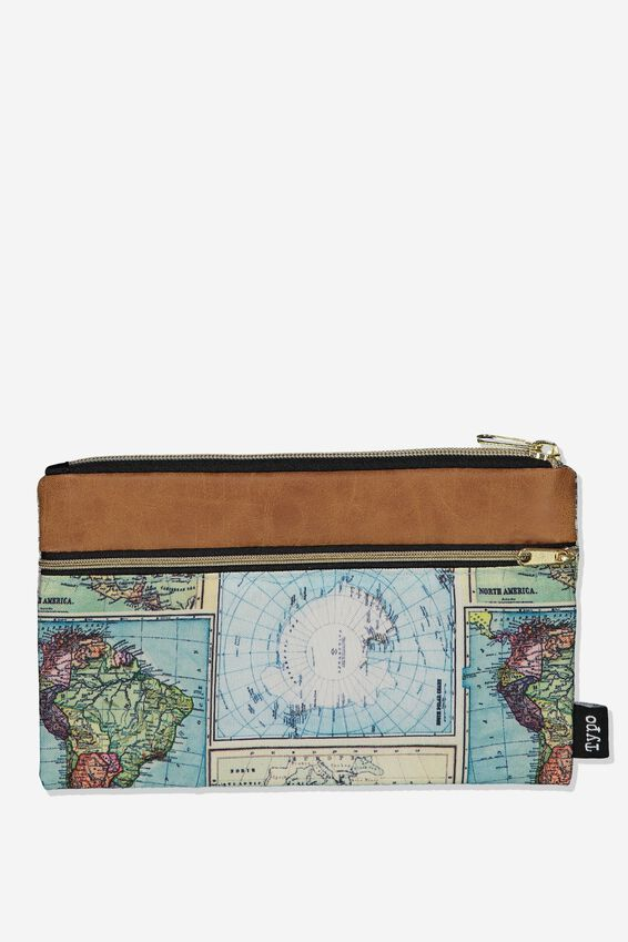 Archer Pencil Case, TAN AND MAP