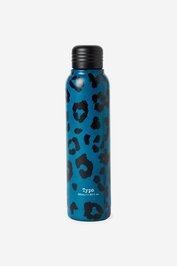 Small Metal Drink Bottle, TEAL LEOPARD PRINT