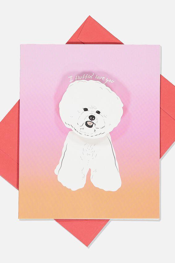 Premium Love Card, BOBBLE HEAD FLUFFIN LOVE YOU