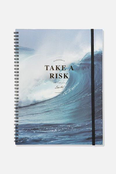 A4 Spinout Notebook - 120 Pages, TAKE A RISK WAVE
