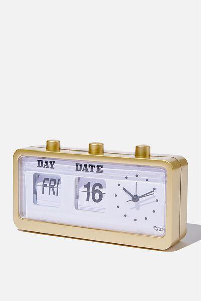 Retro Flip Clock, BRUSHED GOLD