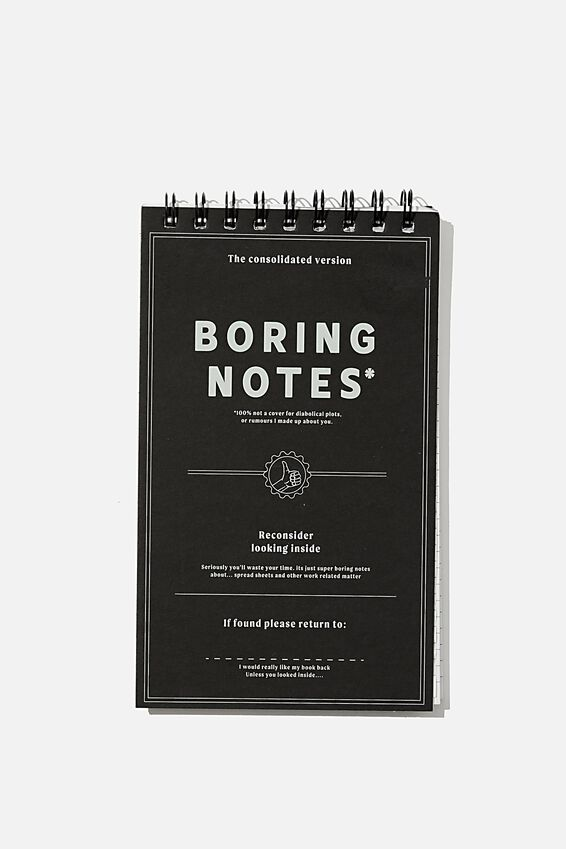 Flipout Notepad Recycled, BORING NOTES BLACK