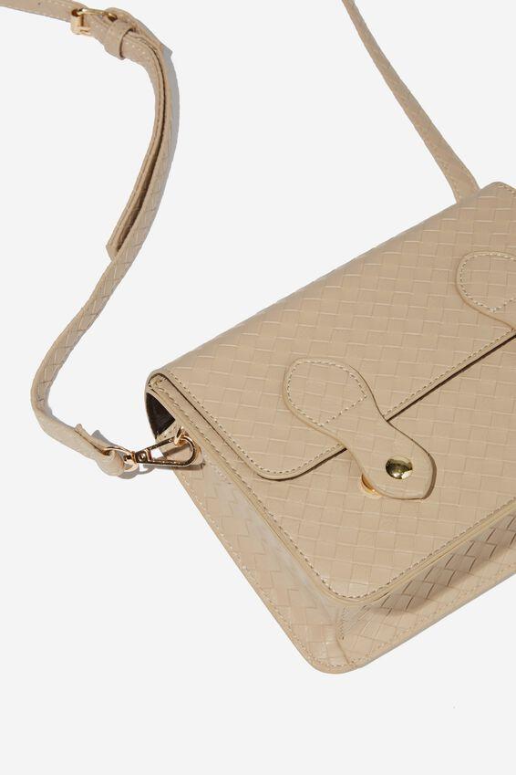 Mini Buffalo Satchel Bag, LATTE WEAVE