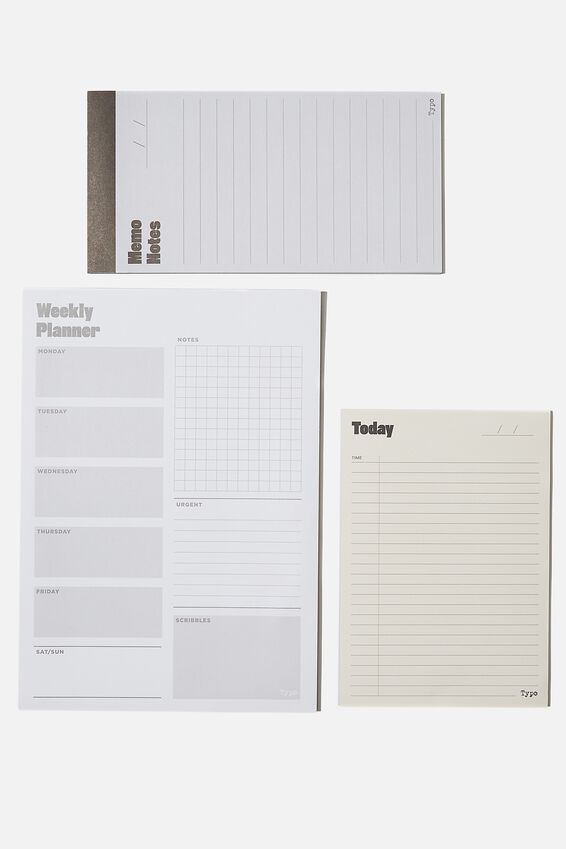 Notepad 3Pk, WHITE AND GREEN