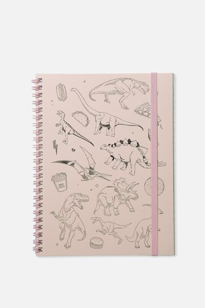 A5 Spinout Notebook - 120 Pages, PINK DINOSAURS
