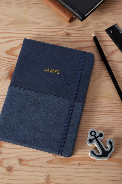 Personalised A5 Buffalo Journal, NAVY TWO TONE