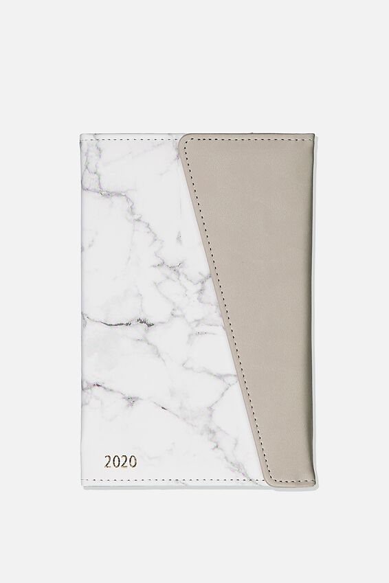 2020 Deluxe Diary, WHITE MARBLE