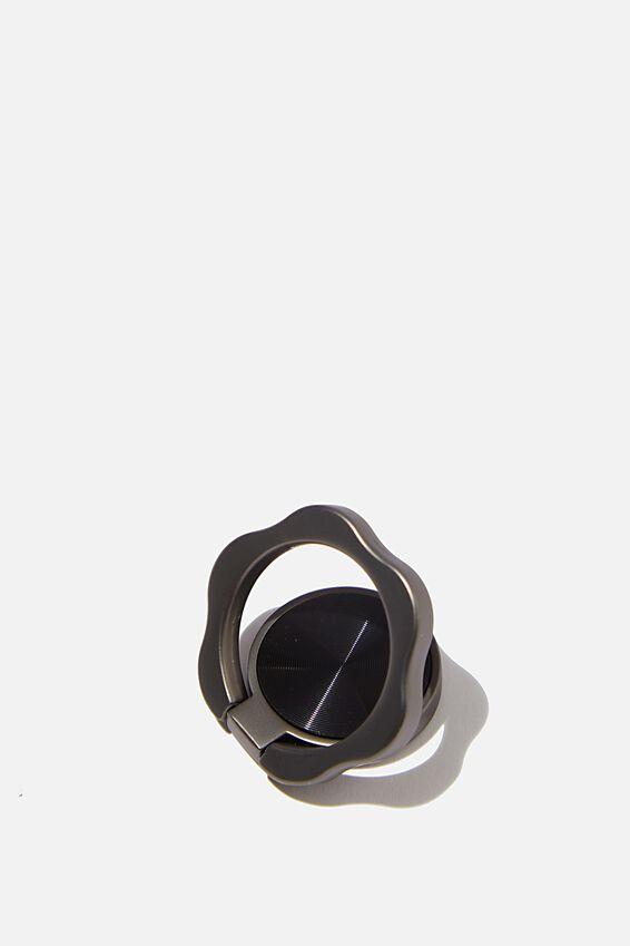 Metal Phone Ring, BLACK FLOWER