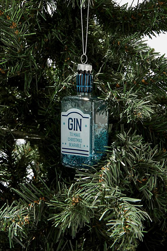 Small Glass Christmas Ornament, GIN BOTTLE!