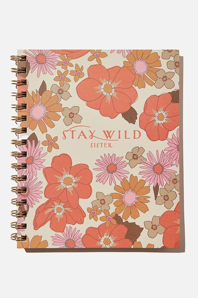 A5 Campus Notebook Recycled, RETRO FLORAL STAY WILD