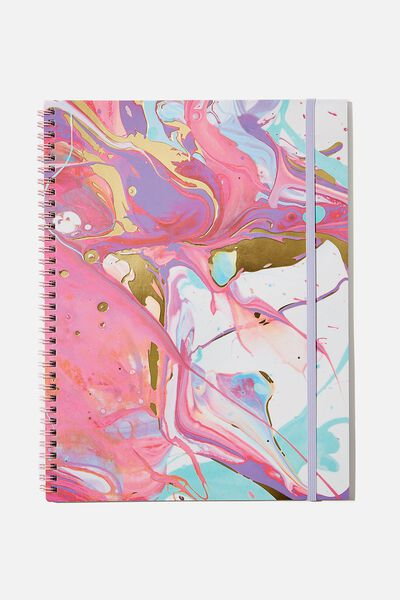 A4 Spinout Notebook Recycled, PINK MARBLE SWIRL