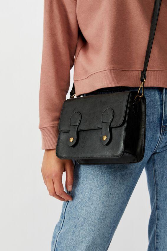 Mini Buffalo Satchel Bag, BLACK