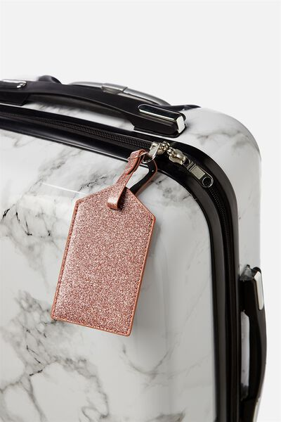 Luggage Tag, ROSE GOLD GLITTER