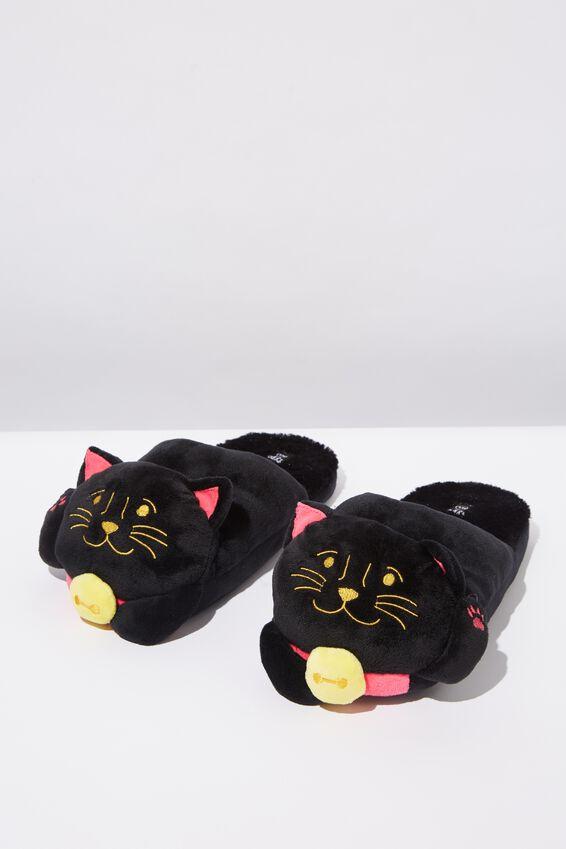 Novelty Slippers, BLACK LUCKY CAT