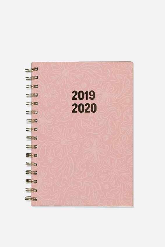2019 20 A5 Spiral Diary, PINK