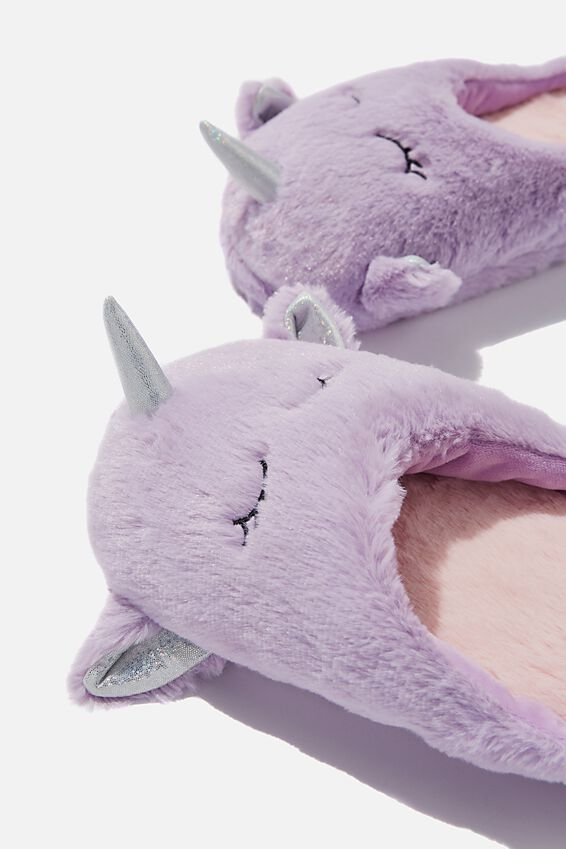 Novelty Slippers, LAVENDER UNICORN