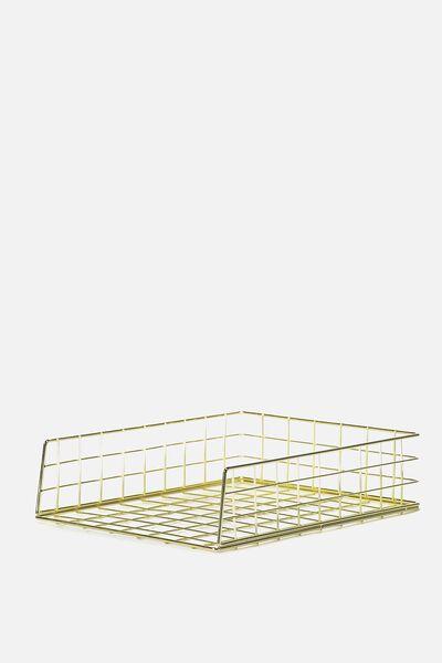 Metal Storage Desk Tray, GOLD WIRE
