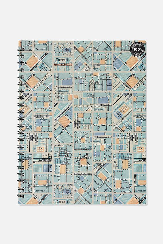 A4 Campus Notebook Grid Internal Recycled, BLUE GRID MAP