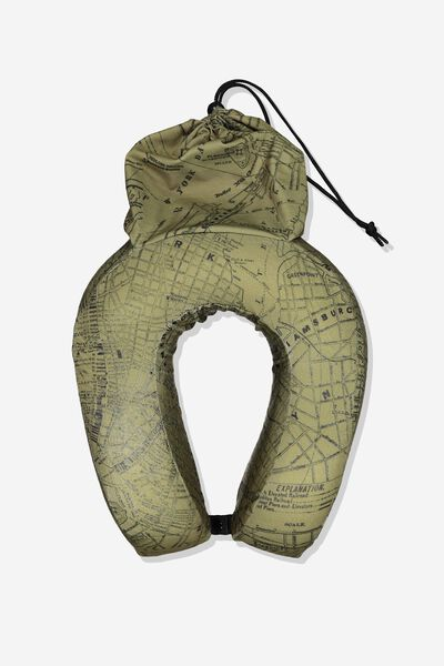 Travel Pillow, KHAKI MAP